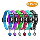 VACNITE Adjustable Cat Collar with Bell, Reflective Strap, Safety Quick Release Buckle, Suitable for Cats and Small Dogs(Pack Of 6)