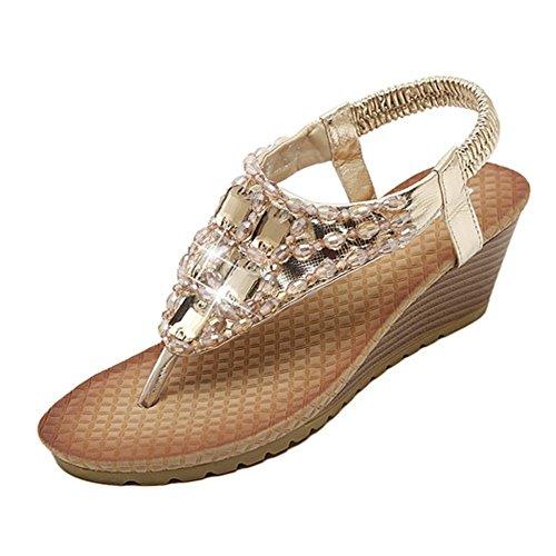 Minetom Donne Elegante Sandali Estate Peep Toe Pantofole Sandali Con Zeppa T-Strap Sandali Oro 39