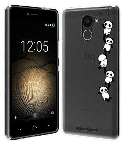 Sunrive Für BQ Aquaris U Plus Hülle Silikon, Transparent Handyhülle Schutzhülle Etui Case Backcover für BQ Aquaris U Plus(TPU Panda)+Gratis Universal Eingabestift