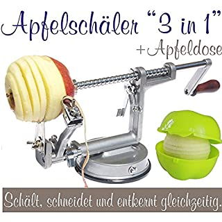 3-in-1Apple Peeler, Slicer and Corer, Apple Machine with apple container silver grey