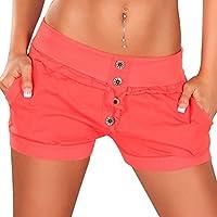 Hot Pants da donna Hot Pants estate plastica Slip Pantaloni Boyfriend Baggy Bermuda Chino–Pantaloncini da (Bottoni Cotone Slip)