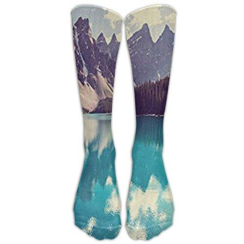 Moraine Lake In Banff National Park Knee High Graduated Compression Socks For Women And Men - Best Medical, Nursing, Travel & Flight Socks - Running & Fitness