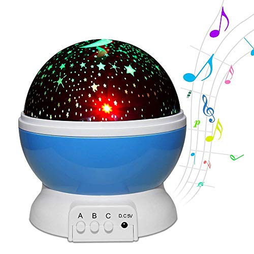 HHCC Musik-Nachtlichtprojektor, USB-Aufladungskinder Bunte sternenklareFernsteuerungsunterstützungGeschenkgeschenkspielzeugschlafhilfe der 360-Grad-Drehung,Blue