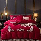 Einfarbig Bettbezug Sets Samt Dicke Warme Korallen Fleece Bettwäsche, mit Reißverschluss und Eckknöpfen, 4 Stück (1 Bettbezüge, 1 Spannbettlaken, 2 Kissenbezug),003,King