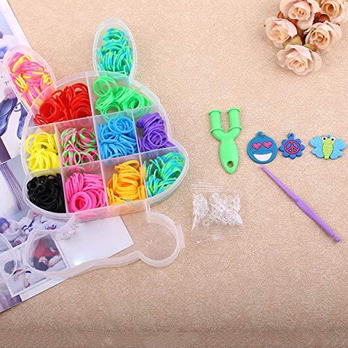 Kaninchen Boxed Loom Band DIY Armband Webmaschine Bunte elastische Gummiband gestrickt Handwerk Kit für Kinder - multicolor