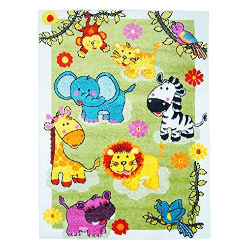 Creme Grüne Rechteck Teppich (carpet city Kinderteppich Moda Tierparty an der Wiese Multi Grün Creme Gelb Türkis Öko Tex Exklusiv 160x225 cm)