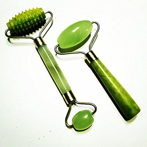ECHO & Kern 2Pcs der Original Chi Himalaya-Anti Aging und Anti fuffiness Jade Strukturrolle 100% natürliche Jade Gesichtsroller Spiky Jade Roller (Werden Junge Echos)