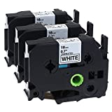 """ouguan 3Pack compatible Brother P-Touch Label Maker TZ Tze Laminated Tape tze241TZ241Black On White 18mm (3/4"""") x 26.2Ft. (8m)"""