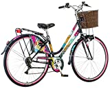 breluxx 28 Zoll Damenfahrrad Venera Fashion Dandelion Citybike Korb + Licht Retro Damenrad, 6 Gang Shimano