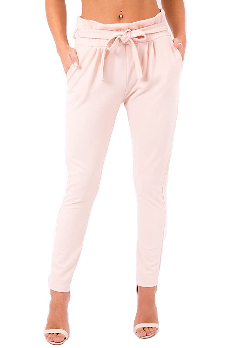UK Womens High Waist Paperbag Trousers Ladies Party Cigaratte Pants Size 6-12