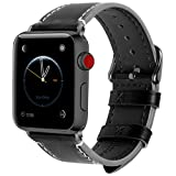Fullmosa 8 Couleurs Compatible Bracelet Apple Watch 42mm 44mm(Serie4) Cuir, Wax pour Bracelet Apple Watch/iWatch Serie 3 2 1, Noir+Boucle Grise fumé,42/44mm
