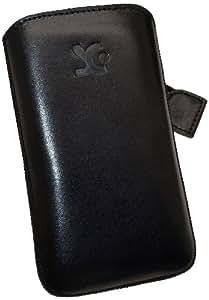 Original Suncase Echt Ledertasche (Lasche mit Rückzugfunktion) für Samsung Galaxy Gio GT-S5660 in schwarz