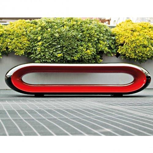 Serralunga Loop Gartenbank, schwarz rot glänzend