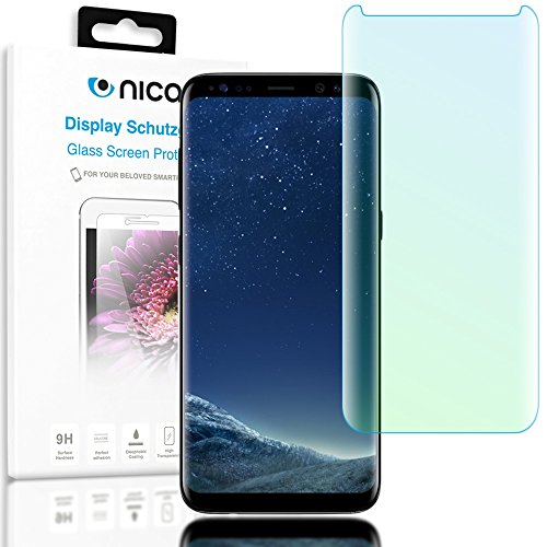 Samsung Galaxy S8 Panzerglas Schutzfolie von NICA, 3D Full-Cover Displayschutz-Folie [Hüllen-Kompatibel] / 9H Panzerfolie Schutz-Glas / Handy Display-Abdeckung Panzer-Glasfolie Displayfolie Glass (Lcd Display Screen Cover)