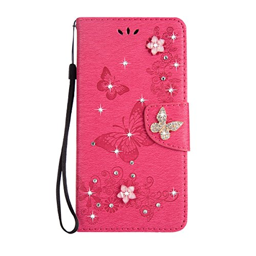 Galaxy S8 Plus Case [Free Tempered Glass Screen Protector],Mo-Beauty Floral Bling Sparkly Diamonds Butterfly Pattern Design Wallet PU Leather Flip Case Cover For Samsung Galaxy S8 Plus (Rose pink)