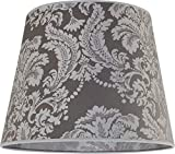 Lampenschirm Silber groß mit Barock-Muster Ø38cm für Stehlampe E27 Stoff Schirm Stehleuchte