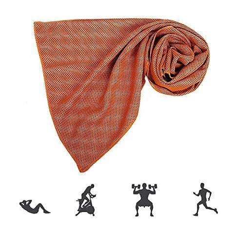 ZYCC Serviette de refroidissement Super Absorbant Snap Cool Towel Hommes Femmes pour le sport, l'entraînement, la forme physique, le yoga, l'extérieur, les voyages, le camping 1 Pack (Orange)