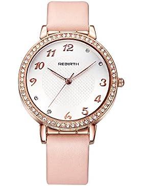 nette Frauen rosa Lederuhr hell Strass Gold romantische arabische Ziffern stiegen Uhren für Mädchen