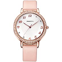 Cute Women's Pink Leather Watch Bright Rhinestone Rose Gold Romantic Arabic Numerals Watches For Girls