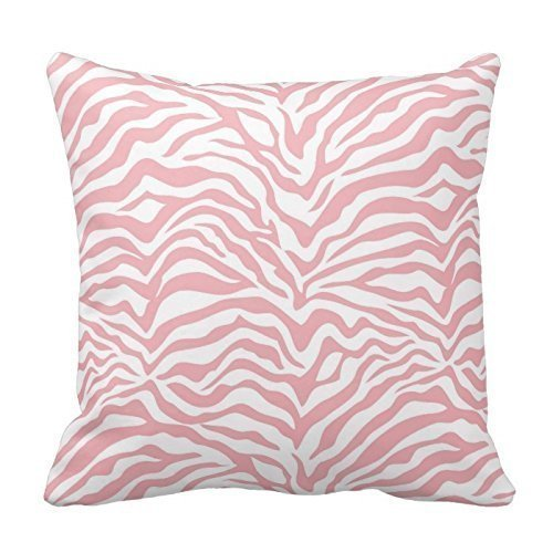 polyesterStripe Pattern Pillowcase Baby Pink Zebra Stripe Throw Pillow Covers Size:16 X 16 Inches / 40 by 40 cm