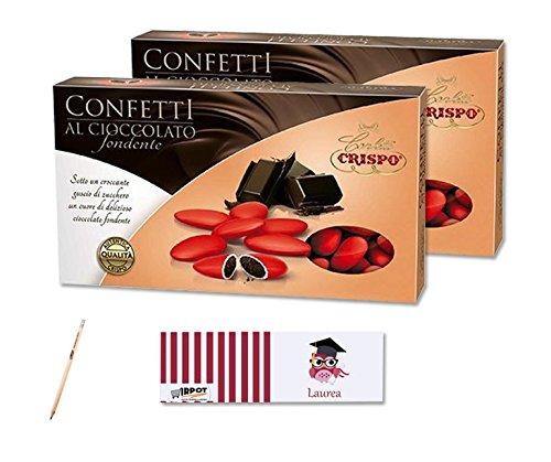 Crispo confetti al cioccolato fondente rossi 2 kg + 100 bigliettini laurea
