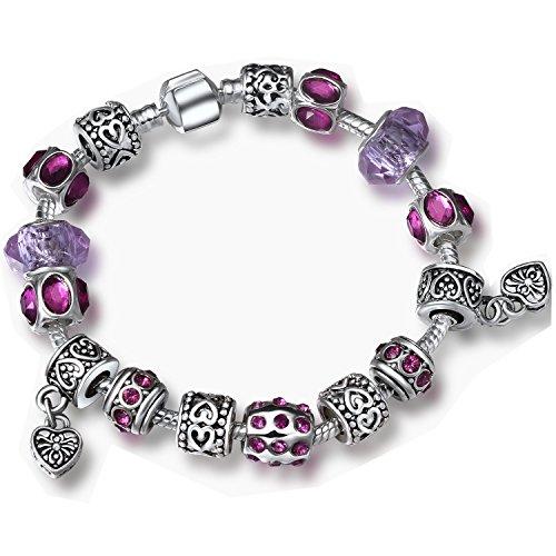 A TE® Bracciale Charm Cristalli Beads cuore Regalo da Donna per la Festa #JW-B108 (Viola)