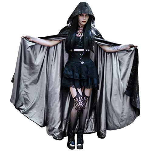 Kapuzen Mesh Kostüm - HOMELEX Unisex Grau Mesh Samt Sternenhimmel Erwachsene Umhang Halloween Vampir Cape
