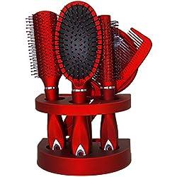 Nouveaux PC pour femme Unisexe Miroir Brosse à cheveux Peigne de femme Voyage Cadeau Blister - Rouge - Taille unique