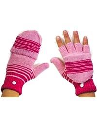 Mens Ladies Thermal Knitted Flip Cap Fingerless Wool Warm Winter Gloves Mittens