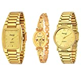 #9: Imperial Club Combo Pack of 3 Golden Colour Analog Watches for Men and Women (wcm-002)