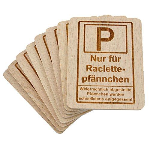"""8 Stück Raclette Untersetzer mit Lasergravur\""""Raclettepfännchen Parkplatz\"""" aus Buchenholz, 100x80x7mm"""