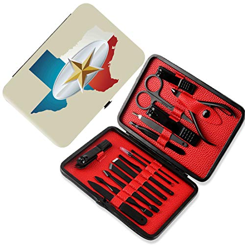 Nagelknipser 15-tlg. Maniküre-Pediküre-Set Texas Star Nagelpflegeset aus Edelstahl,Cowboy Gürtelschnalle Star Design mit Texas Karte südwestlichen Teilen von Amerika,mehrfarbig,Persönliches Werkzeugs -