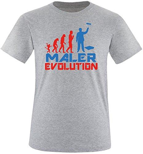 EZYshirt® Maler Evolution Herren Rundhals T-Shirt Grau/Rot/Blau