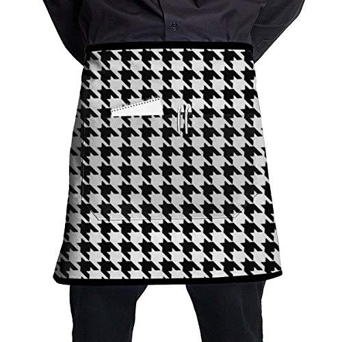 xcvgcxcvasda Einstellbare Latzschürze mit Tasche, Einstellbare Latzschürze mit Tasche for Women, Men, Chef, Kitchen, Home, Restaurant, Cafe, Cooking, Baking, Gardening (Black and White Houndstooth)