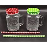 Satyam Kraft Glass Without Hole Mason Jar With Polka Dot Lid And Straw(RANDOM COLOUR)(500 Ml)suitable To Use In Your Home Office ,jars For Juices /glass Jars Set /glass Jars For Kitchen /glass Jar Containers /glass Jar For Gift /glass Jar /mason Glass Jar