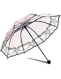 DAHAI FU 1 unid 1 unid Blanco Negro Color Transparente Paraguas Mujeres Plegable Rose Patrón Parasol