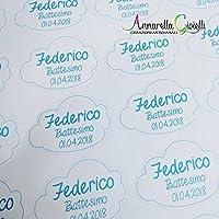 Adesivi personalizzati nuvoletta , 30x40mm etichette matrimonio, battesimo, thank you stickers, grazie, comunione, cresima, laurea, adesivo nuvola