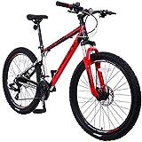 KRON XC-100 Hardtail Aluminium Mountainbike 26 Zoll, 21 Gang Shimano Kettenschaltung mit Scheibenbremse | 16 Zoll Rahmen MTB Erwachsenen- und Jugendfahrrad | Schwarz & Rot