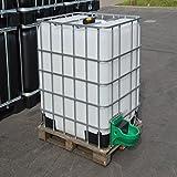 IBC Wassertank 1000L, Blase auf Holzpalette mit Weidetränke und Verbindungsset, Gitterbox gebraucht.