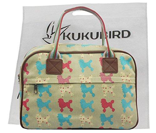 Kukubird Dog Varietà Stampa Matte Canvas Handbag Satchel Pernottamento Con Il Sacchetto Di Polvere Di Kukubird Light Blue