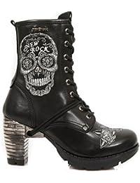 New Rock Hombres Cuero Motorista Largo Zapatos - M.272 (EU 42, Negro)