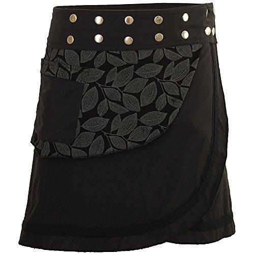 PUREWONDER Damen Wickelrock Baumwolle Rock mit Tasche sk231 Schwarz Einheitsgröße verstellbar