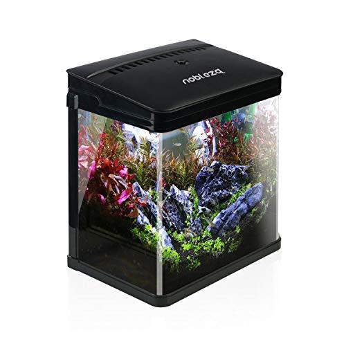 Nobleza - Nano-Fischtank-Aquarium mit LED-Leuchten & Filtersystem, tropischeAquarien, 7 Liter, Schwarz ...