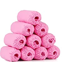 LXLTL 200 Pack Shoe Covers - Disposable Hygienic Boot Cover for Medical, Construction, Workplace, Indoor Carpet Floor Protection One Size Fits Most,Pink