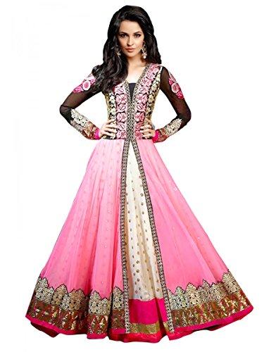 Janasya Women's Pink Georgette Dress Material
