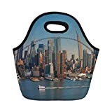 Portable Bento Lunch Bag,Urban,New York City Skyline Over Hudson River Empire State Building Boats and Skyscrapers,Blue Brown,for Kids Adult Thermal Insulated Tote Bags