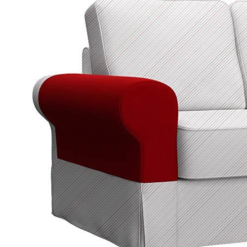 Soferia Bezug fur IKEA BACKABRO Armlehnenschoner, EIN Paar, Stoff Elegance Red