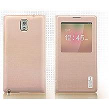 DLONS® Premium Ultra Delgado Voltear Folio PU Cuero Ver Ventana Smart Carcasas Batería Espalda Funda Para Samsung Galaxy Note 3 III N9000 N9005 - Rosa
