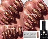 Bluesky 80544 10-ml-Gel-Nagellack, Farbe: Tinsel Toast - Kupfer und goldene Bronze, UV-/LED-Nagellack, durch Einweichen entfernbar, 10ml, mit 2 Homebeautyforyou-Glanztüchern