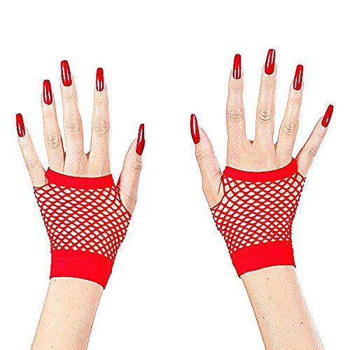 Rote Netz-Halbhandschuhe für (Fancy Ideen Punk Dress)